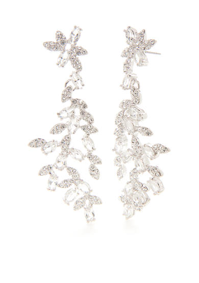 kate spade new york® Silver-Tone Crystal Ivy Linear Earrings