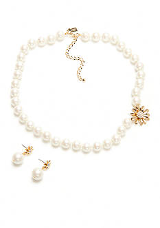 kate spade new york® Gold-Tone Mom Knows Best Pearl Collar Necklace and Drop Earring Boxed Set