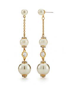 kate spade new york Gold-Tone Pearls of Wisdom Linear Earrings