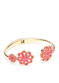 kate spade new york Gold-Tone Trellis Blooms Pink Floral Hinge Cuff Bracelet