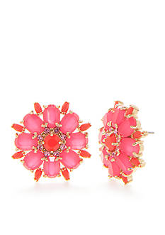 kate spade new york Gold-Tone Pink Floral Statement Button Earrings