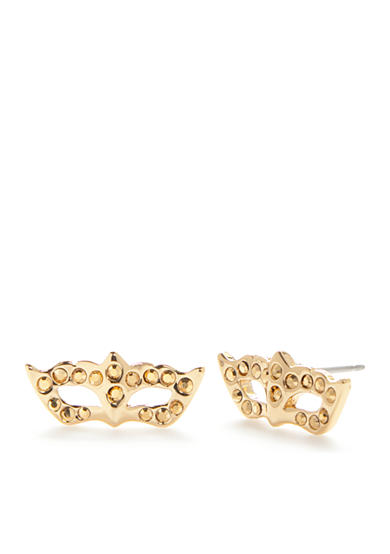 kate spade new york® Gold-Tone Dress The Part Mask Stud Earrings