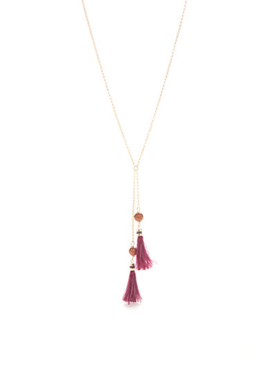 kate spade new york® Gold-Tone Feathered Tassels Mini Y Necklace