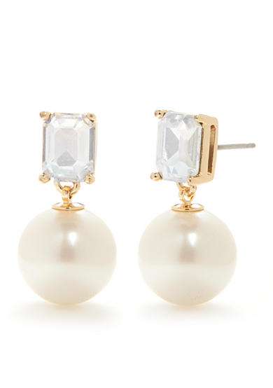 kate spade new york® Gold-Tone Shine On Emerald Cut Drop Pearl Earrings