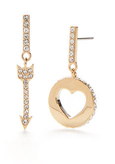 kate spade new york® Gold-Tone Be Mine Heart and Arrow Drop Earrings