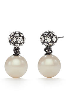 kate spade new york Hematite-Tone Party Pearls Double Drop Earrings