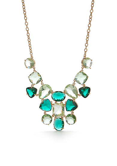 kate spade new york® Gold-Tone Vegas Jewels Green Jeweled Statement Necklace
