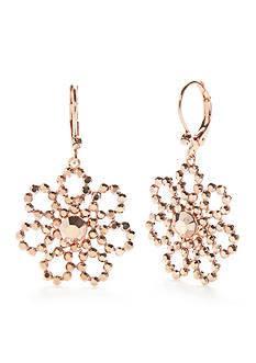 kate spade new york® Rose Gold-Tone Crystal Lace Drop Earrings
