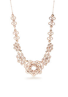kate spade new york® 12-K Rose Gold-Plated Crystal Lace Statement Necklace