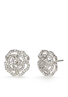 kate spade new york Silver-Tone Crystal Rose Stud Earrings