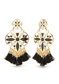 kate spade new york Gold-Tone Moroccan Tile Tassel Chandelier Earrings
