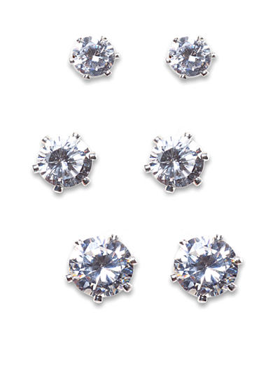 New Directions® Round CZ and Silver-Tone Trio Earring Set