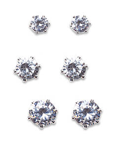 New Directions Round CZ and Silver-Tone Trio Earring Set