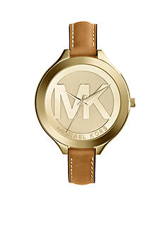 Michael Kors Women's Mid-Size Luggage Leather and Gold Tone Stainless Steel Slim Runway Three-Hand Watch