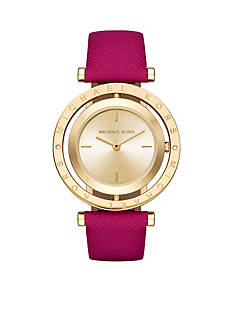 Michael Kors Women's Gold-Tone Averi Pink Leather Watch
