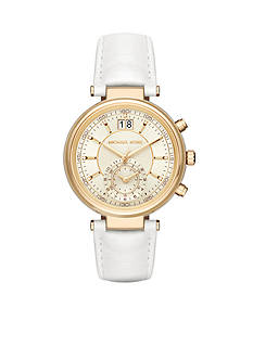 Michael Kors Women's Gold-Tone Sawyer White Leather Strap Watch