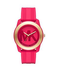 Michael Kors Women's Gold-Tone Preston Pink Silicone Watch
