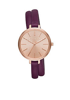 Michael Kors Rose Gold-Tone Plum Jaryn Leather Watch