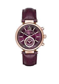Michael Kors Women's Sawyer Rose Gold-Tone and Plum Leather Chronograph Watch