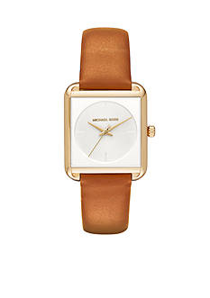 Michael Kors Women's Gold-Tone and Light Brown Leather Lake Watch