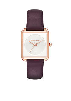 Michael Kors Women's Rose Gold-Tone and Plum Leather Lake Watch