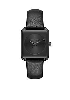 Michael Kors Women's Black IP Lake Black Leather Strap Watch