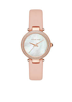 Michael Kors Rose Gold-Tone Pink Mini Parker Leather Watch