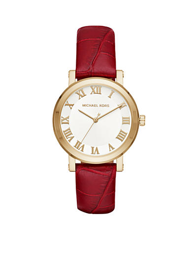 Michael Kors Women's Norie Garnet Leather and Gold-Tone Three-Hand Watch