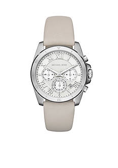 Michael Kors Women's Brecken Stainless-Steel and White Leather Chronograph Watch