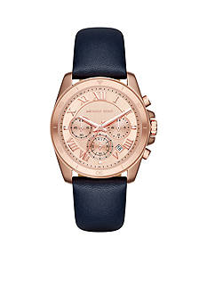 Michael Kors Women's Brecken Rose Gold-Tone and Blue Leather Chronograph Watch