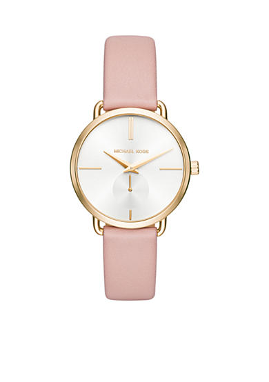 Michael Kors Women's Portia Blush Leather and Gold-Tone Two-Hand Sub-Eye Watch