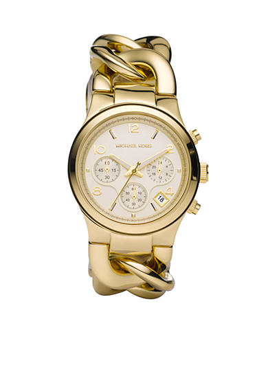 Michael Kors Women's Mid-Size Gold-Tone Stainless Steel Runway Twist Chronograph Watch