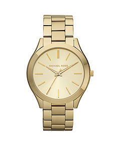 Michael Kors Gold Tone Stainless Steel Slim Runway Watch