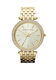 Michael Kors Mid-Size Gold-Tone Stainless Steel Darci Three-Hand Glitz Watch