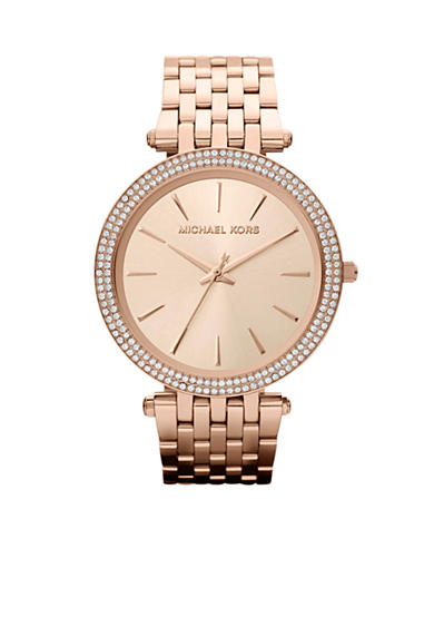Michael Kors Mid-Size Rose Gold Tone Stainless Steel Darci Three Hand Glitz Watch