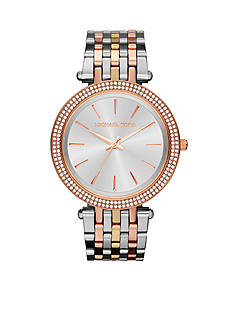 Michael Kors Mid-Size Silver-Tone, Rose Gold-Tone, Gold-Tone Stainless Steel Darci Three-Hand Glitz Watch