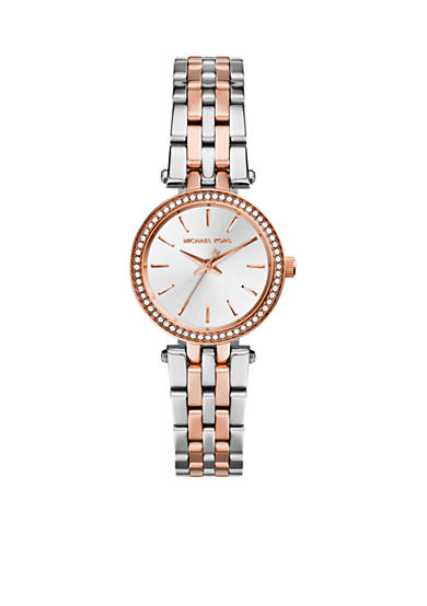 Michael Kors Stainless Steel and Rose Gold Tone Petite Darci Watch