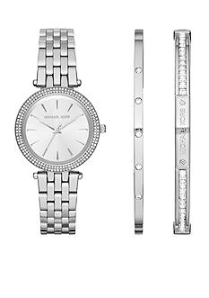 Michael Kors Women's Silver-Tone Mini Darci and Bracelet Gift Set
