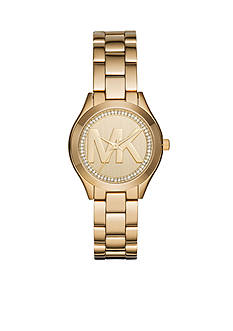 Michael Kors Women's Gold-Tone Mini Slim Runway Watch