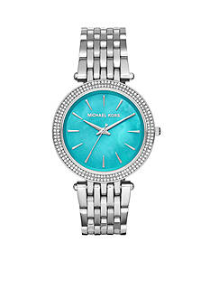 Michael Kors Women's Silver-Tone Darci Turquoise Dial Watch