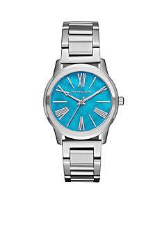 Michael Kors Women's Silver-Tone Hartman Blue Dial Watch
