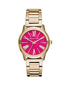 Michael Kors Women's Gold-Tone Hartman Pink Dial Watch