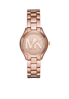 Michael Kors Women's Michael Kors Mini Slim Runway Rose Gold-tone Three Hand Watch