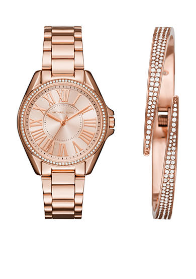 Michael Kors Women's Rose Gold-Tone Bracelet and Watch Set