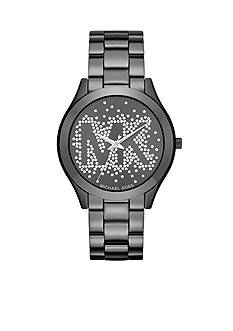 Michael Kors Women's Slim Runway Black IP Three-Hand Watch