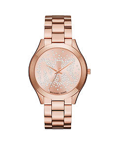 Michael Kors Women's Slim Runway Rose Gold-Tone Three-Hand Watch