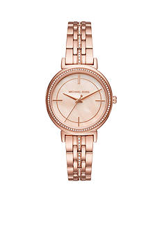 Michael Kors Women's Rose Gold-Tone Cinthia Three-Hand Watch
