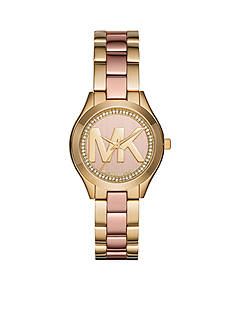 Michael Kors Women's Mini Slim Runway Two-Tone Three-Hand Watch
