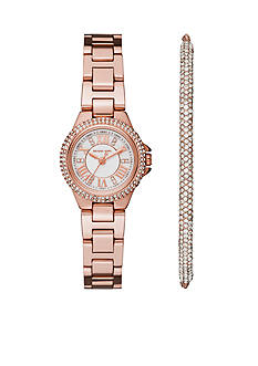 Michael Kors Petite Camille Rose Gold-Tone Three-Hand Watch and Bracelet Gift Set