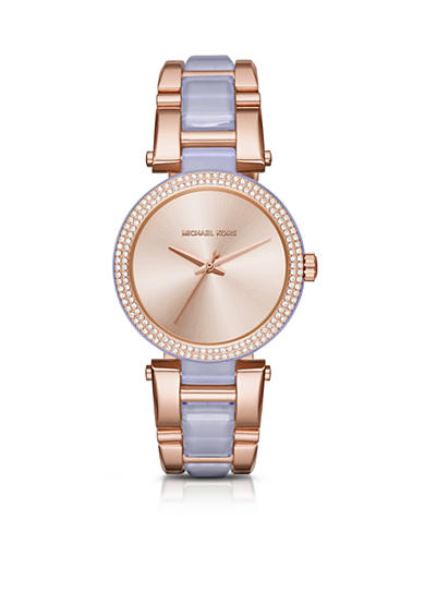 Michael Kors Women's Rose-Gold Tone and Wisteria Acetate Delray Watch